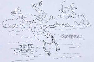 нарисовать пошагово прыгающую лягушку карандашом, рисунок  прыгающей лягушки, контурный рисунок,  черно - белый