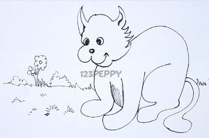 нарисовать пошагово домашнюю кошку карандашом, рисунок  домашней кошки, контурный рисунок,  черно-белый