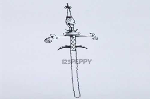 нарисовать пошагово красивый меч карандашом, рисунок  красивого меча, контурный рисунок,  черно - белый