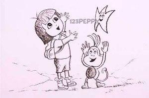 нарисовать пошагово девочку и обезьянку карандашом, рисунок  девочки и обезьянки, контурный рисунок,  черно-белый