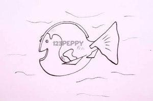 нарисовать пошагово весёлую рыбку карандашом, рисунок  весёлой рыбки, контурный рисунок,  черно-белый