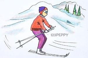 нарисовать пошагово лыжника карандашом, рисунок  лыжника, контурный рисунок,  цветной