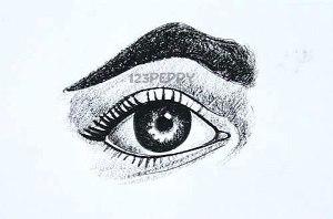 нарисовать пошагово человеческий глаз карандашом, рисунок  человеческого глаза, контурный рисунок,  черно- белый