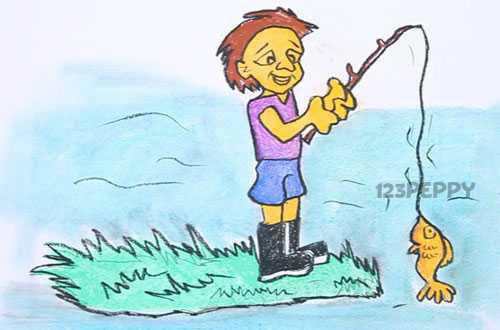 нарисовать пошагово рыбалку карандашом, рисунок  рыбалки, контурный рисунок,  цветной