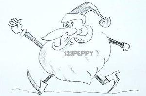 нарисовать пошагово смешного Деда Мороза карандашом, рисунок  смешного Деда Мороза, контурный рисунок,  черно-белый