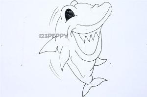 нарисовать пошагово весёлую акулу карандашом, рисунок  весёлой акулы, контурный рисунок,  черно-белый