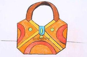 нарисовать пошагово сумку карандашом, рисунок  сумки, контурный рисунок,  цветной