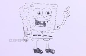 нарисовать пошагово Спанч Боба карандашом, рисунок  Спанч Боба, контурный рисунок,  черно-белый