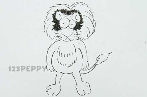 нарисовать пошагово африканского льва карандашом, рисунок  африканского льва, контурный рисунок,  черно - белый