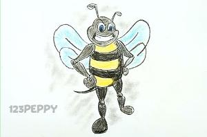 нарисовать пошагово злую пчелу карандашом, рисунок  злой пчелы, контурный рисунок,  цветной