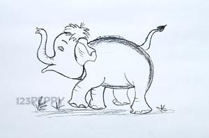 нарисовать пошагово идущего слоненка карандашом, рисунок  идущего слоненка, контурный рисунок,  черно-белый