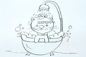 нарисовать пошагово моющегося кота карандашом, рисунок  моющегося кота, контурный рисунок,  черно-белый