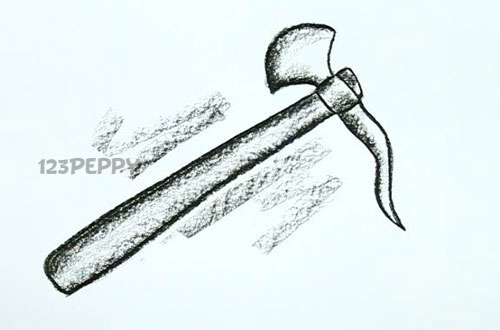 нарисовать пошагово секиру карандашом, рисунок  секиры, контурный рисунок,  черно- белый