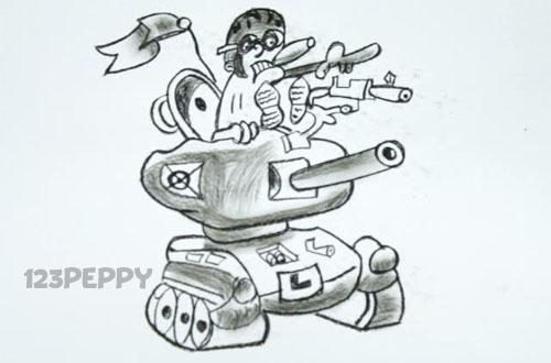 нарисовать пошагово танк карандашом, рисунок  танка, контурный рисунок,  черно- белый