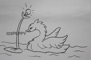 нарисовать пошагово красивого лебедя карандашом, рисунок  красивого лебедя, контурный рисунок,  черно - белый
