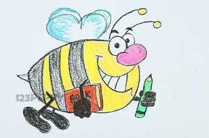 нарисовать пошагово шмеля с книгой и карандашом карандашом, рисунок  шмеля с книгой и карандашом, контурный рисунок,  цветной
