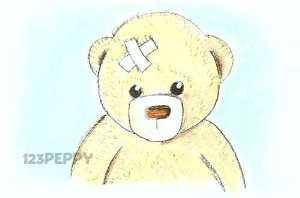 нарисовать пошагово больного игрушечного мишку карандашом, рисунок  больного игрушечного мишки, контурный рисунок,  цветной