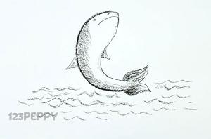 нарисовать пошагово прыгающую рыбку карандашом, рисунок  прыгающей рыбки, контурный рисунок,  черно-белый