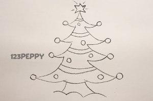 нарисовать пошагово новогоднюю елку карандашом, рисунок  новогодней елки, контурный рисунок,  черно- белый