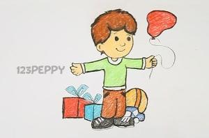 нарисовать пошагово день рождения мальчика карандашом, рисунок  дня рождения мальчика, контурный рисунок,  цветной