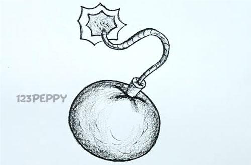 нарисовать пошагово бомбу карандашом, рисунок  бомбы, контурный рисунок,  черно- белый