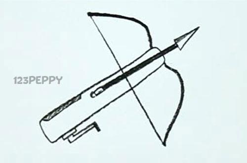 нарисовать пошагово арбалет карандашом, рисунок  арбалета, контурный рисунок,  черно- белый