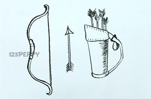 нарисовать пошагово лук, колчан, стрелу карандашом, рисунок  лука, колчана, стрелы, контурный рисунок,  черно- белый