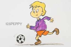нарисовать пошагово мальчика-футболиста карандашом, рисунок  мальчика-футболиста, контурный рисунок,  цветной