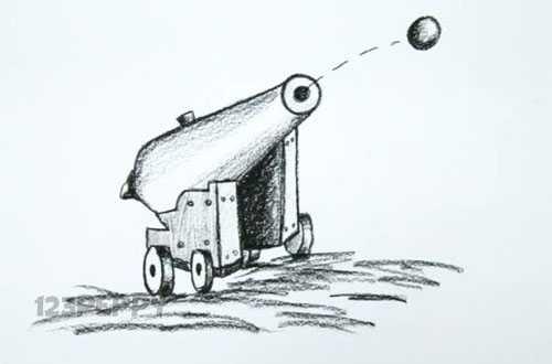 нарисовать пошагово стреляющую пушку карандашом, рисунок  стреляющей пушки, контурный рисунок,  черно- белый