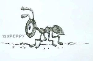 нарисовать пошагово муравья из мультфильма карандашом, рисунок  муравья из мультфильма, контурный рисунок,  черно - белый