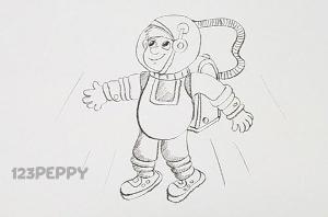 нарисовать пошагово космонавта карандашом, рисунок  космонавта, контурный рисунок,  черно-белый
