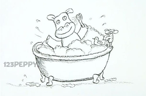 нарисовать пошагово бегемота в ванне карандашом, рисунок  купающегося в ванне бегемота, контурный рисунок,  черно-белый