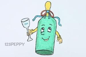 нарисовать пошагово бутылку с бокалом карандашом, рисунок  , контурный рисунок,  цветной