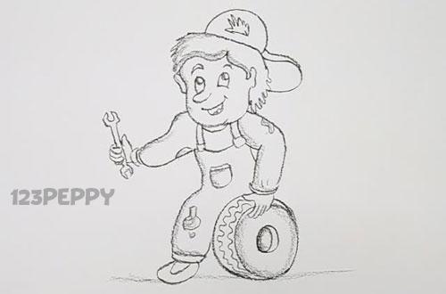 нарисовать пошагово механика карандашом, рисунок  , контурный рисунок,  черно-белый