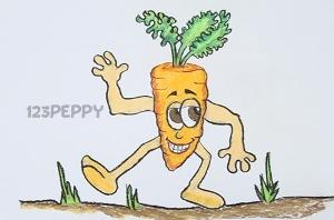 нарисовать пошагово веселую морковку карандашом, рисунок  веселой морковки, контурный рисунок,  цветной