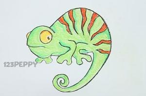 нарисовать пошагово простого хамелеона карандашом, рисунок  хамелеона, контурный рисунок,  цветной