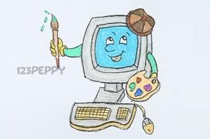 нарисовать пошагово веселый компьютер карандашом, рисунок  веселого компьютера, контурный рисунок,  цветной