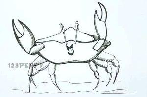 нарисовать пошагово мультяшного краба карандашом, рисунок  мультяшного краба, контурный рисунок,  черно-белый