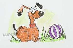 нарисовать пошагово собаку с мячом карандашом, рисунок  собаки с мячом, контурный рисунок,  цветной