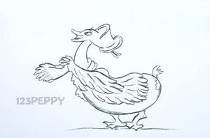 нарисовать пошагово забавную утку карандашом, рисунок  утки, контурный рисунок,  черно-белый