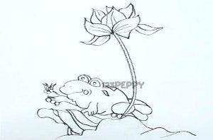 нарисовать пошагово царевну лягушку карандашом, рисунок  царевны лягушки, контурный рисунок,  черно - белый