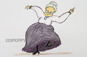 нарисовать пошагово веселую бабушку карандашом, рисунок  веселой бабушки, контурный рисунок,  цветной