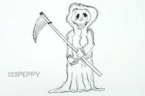 нарисовать пошагово смерть карандашом, рисунок  смерти, контурный рисунок,  черно- белый