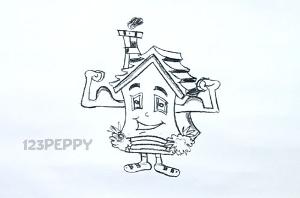 нарисовать пошагово дом на ножках карандашом, рисунок  дома на ножках, контурный рисунок,  черно-белый