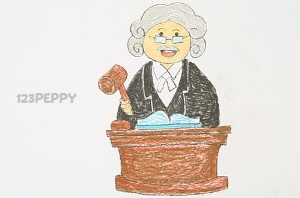 нарисовать пошагово судью в парике карандашом, рисунок  судьи, контурный рисунок,  цветной
