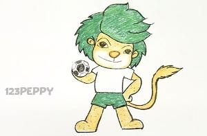 нарисовать пошагово львенка с мячом карандашом, рисунок  львенка с мячом, контурный рисунок,  цветной