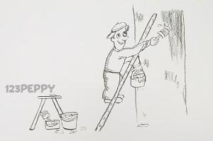 нарисовать пошагово маляра карандашом, рисунок  маляра, контурный рисунок,  черно-белый