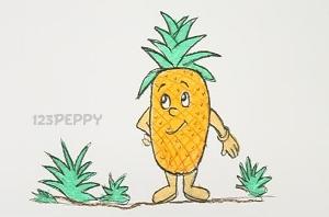 нарисовать пошагово веселый ананас карандашом, рисунок  веселого ананаса, контурный рисунок,  цветной