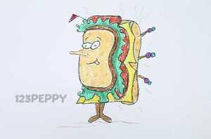 нарисовать пошагово веселый сэндвич карандашом, рисунок  веселого сэндвича, контурный рисунок,  цветной
