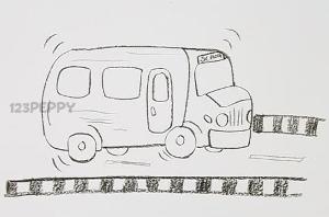 нарисовать пошагово школьный автобус карандашом, рисунок  школьного автобуса, контурный рисунок,  черно-белый